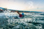 Athlete swims to the swim start at the 2015 Ironman…