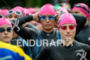 Athletes wait for start of the the swim leg at…