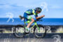 Andy Potts (USA) competes during the bike leg at the…
